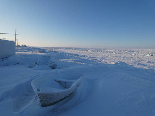 Chuckchi Sea coast in Wainwright, AK (Feb 13 2020)