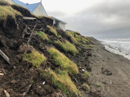 All that's left of an ice cellar in Utqiagvik (note the ladder) due to ongoing permafrost warming and coastal erosion. 8/23/2019.