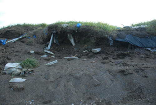 Closer view of destroyed ice cellar in Point Hope. 9/23/2019